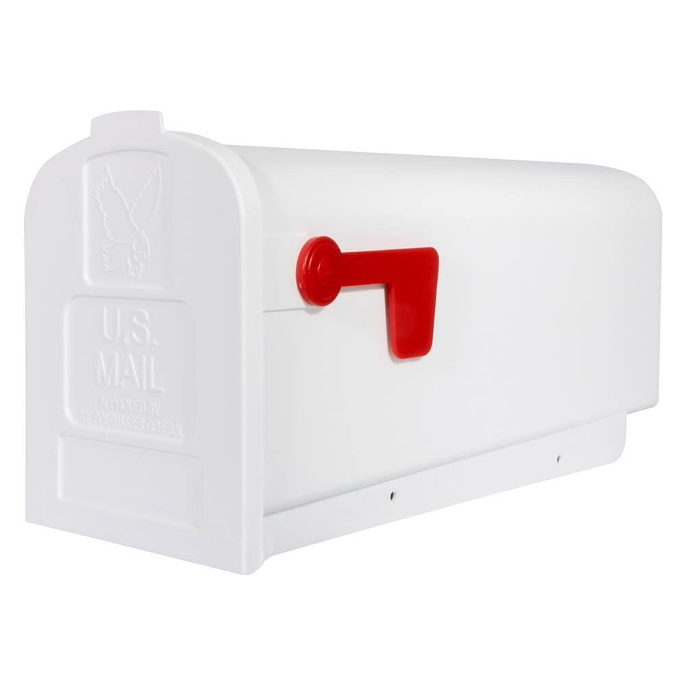 Gibraltar Mailboxes Deluxe Polybox Post-Mount Mailbox - White