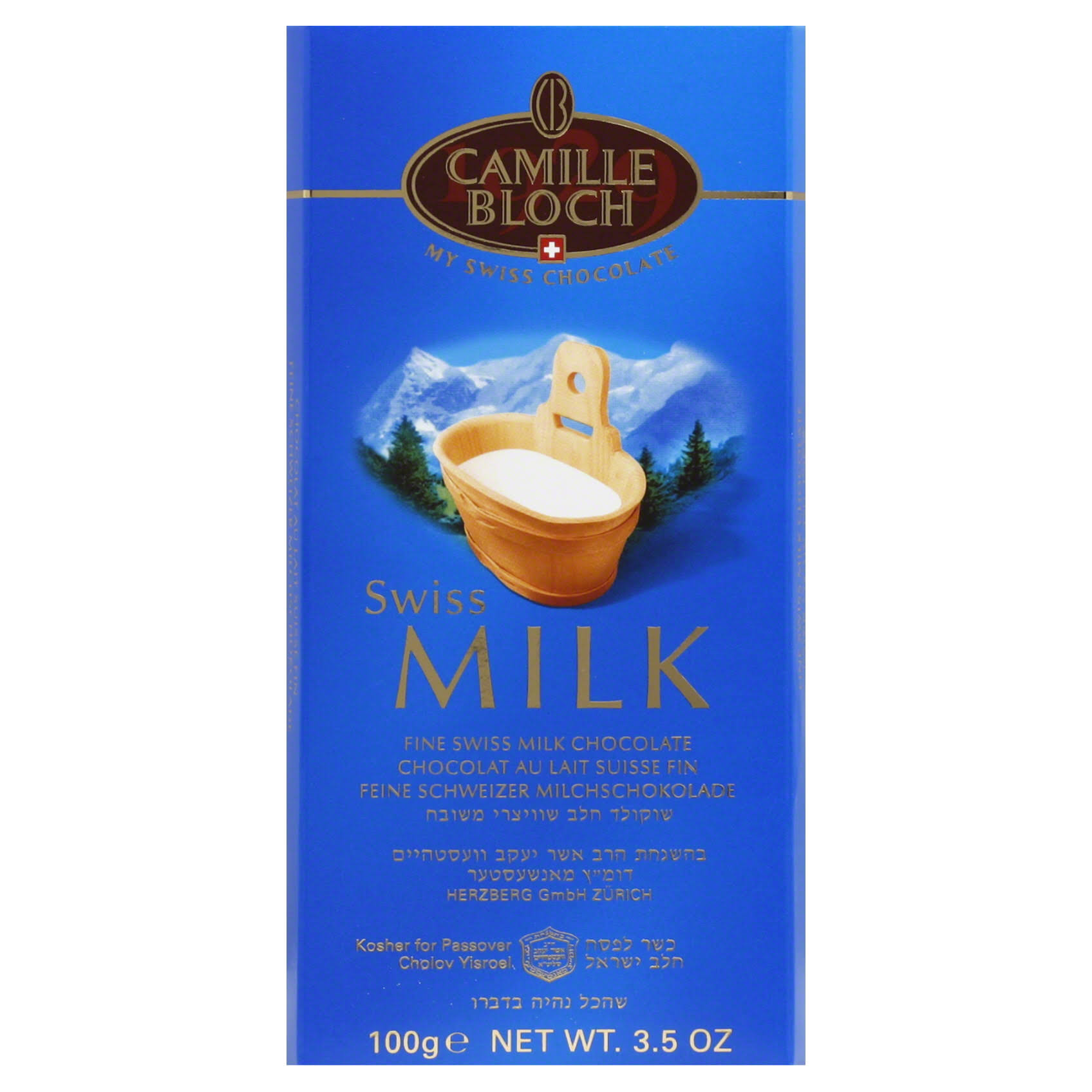 Camille Bloch Swiss Milk Chocolate Bar - 35oz, Pack of 4
