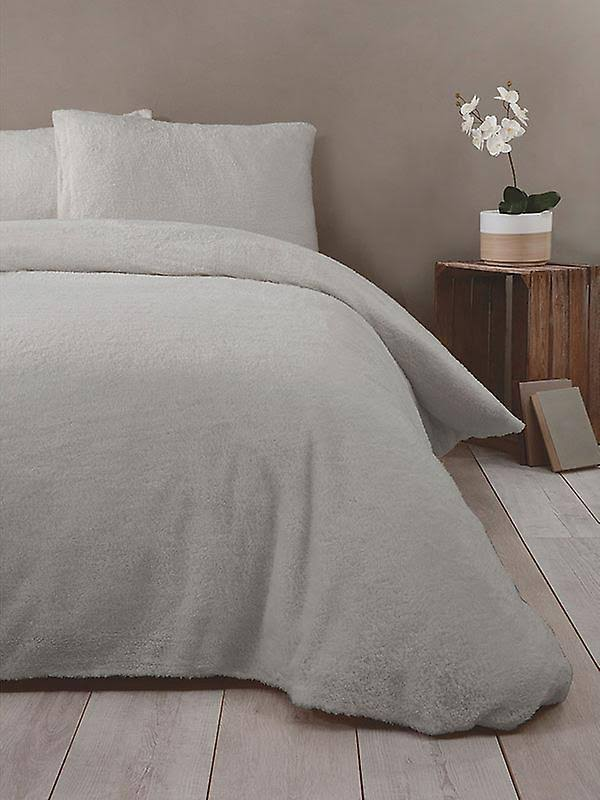 Rapport Super Soft Teddy Single Duvet Cover Set Silver