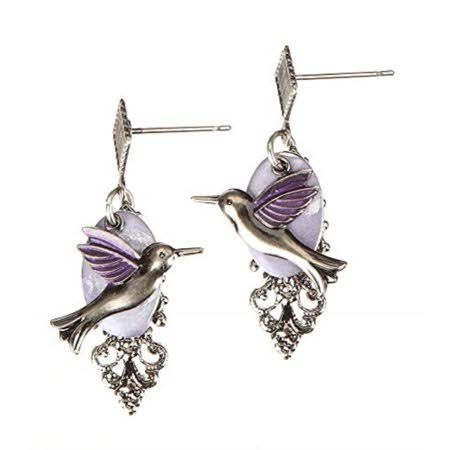 Silver Forest Earrings - Hummingbird Drop, Silver-Tone/Purple