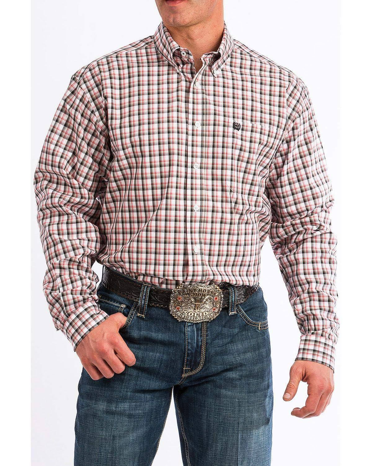 Cinch Men's White Small Plaid Button Long Sleeve Western Shirt