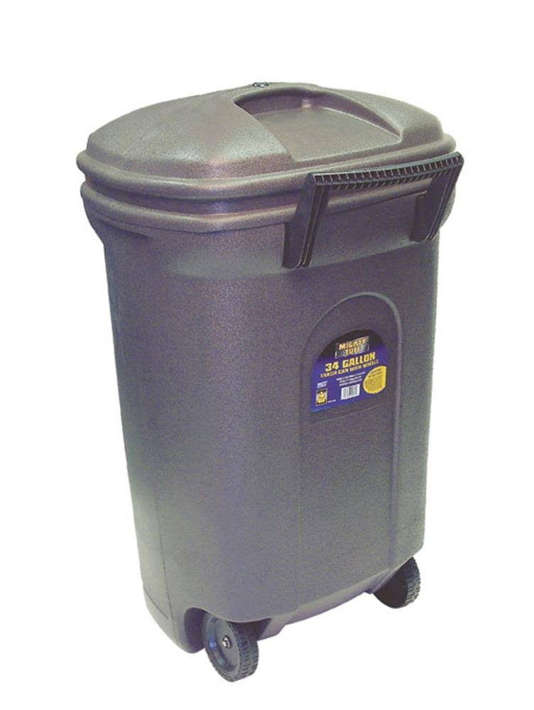 United Solutions Rectangular Wheeled Trash Can with Hook And Lock Handle - Black, 34gal