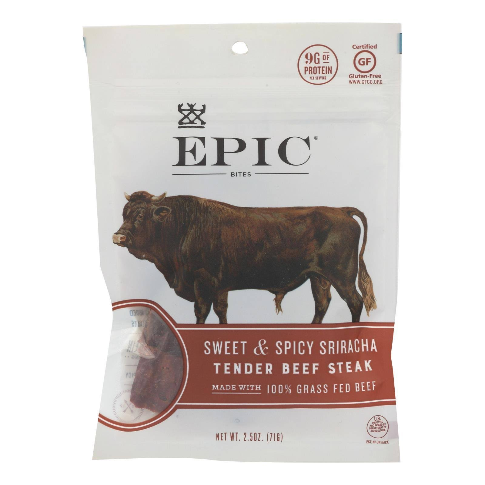 Epic Bites, Tender Beef Steak,Sweet & Spicy Sriracha, Pouch - 2.5 oz