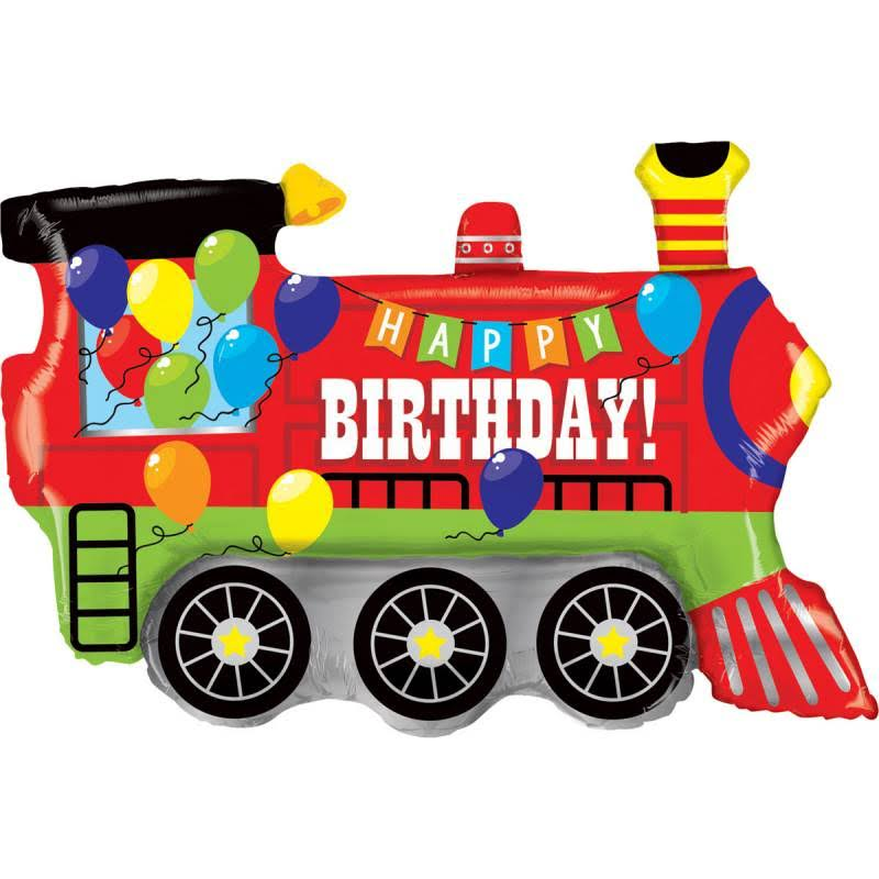 Happy Birthday Party Train Foil Balloon