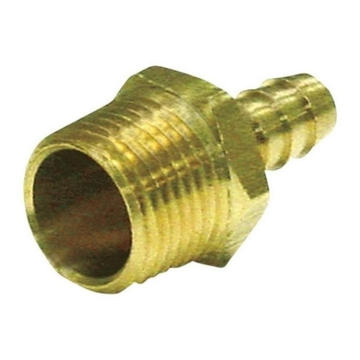 "JMF Hose Barb - Yellow Brass, 5/8"" x 3/8"""