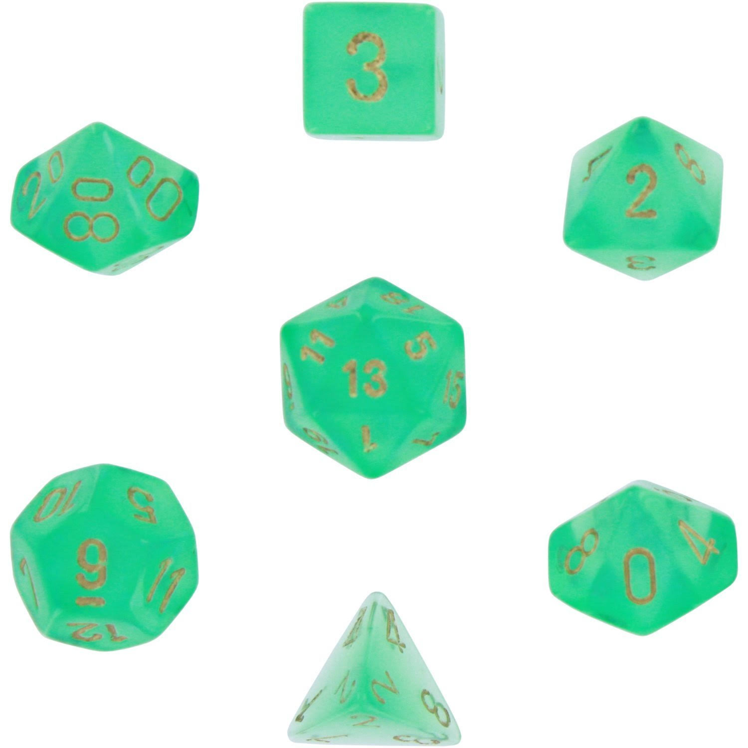 Chessex Borealis #2 Polyhedral Light Green/Gold 7-Die Set
