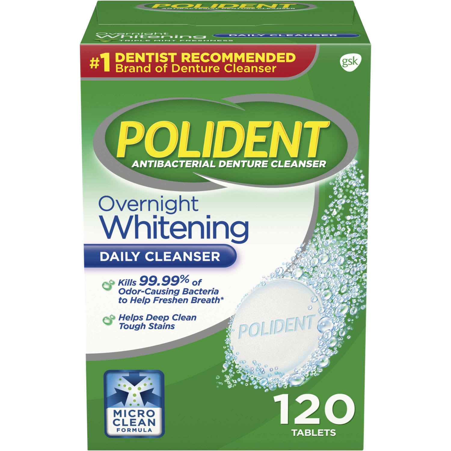 Polident Antibacterial Overnight Denture Cleanser - Triple Mint, 120 Tablets