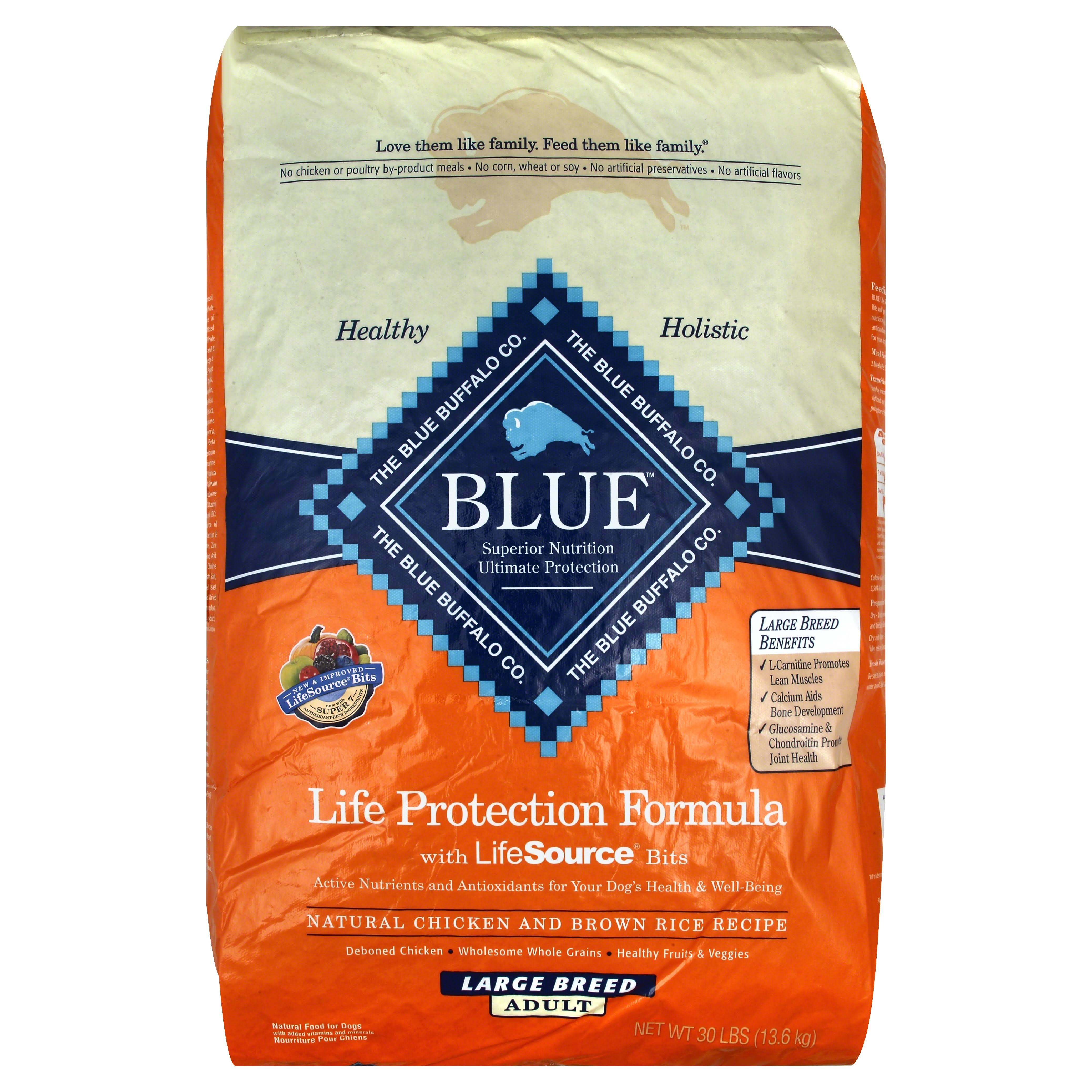 Blue Buffalo Large Breed Adult Dog Dry Food - Chicken & Brown Rice, 30lb