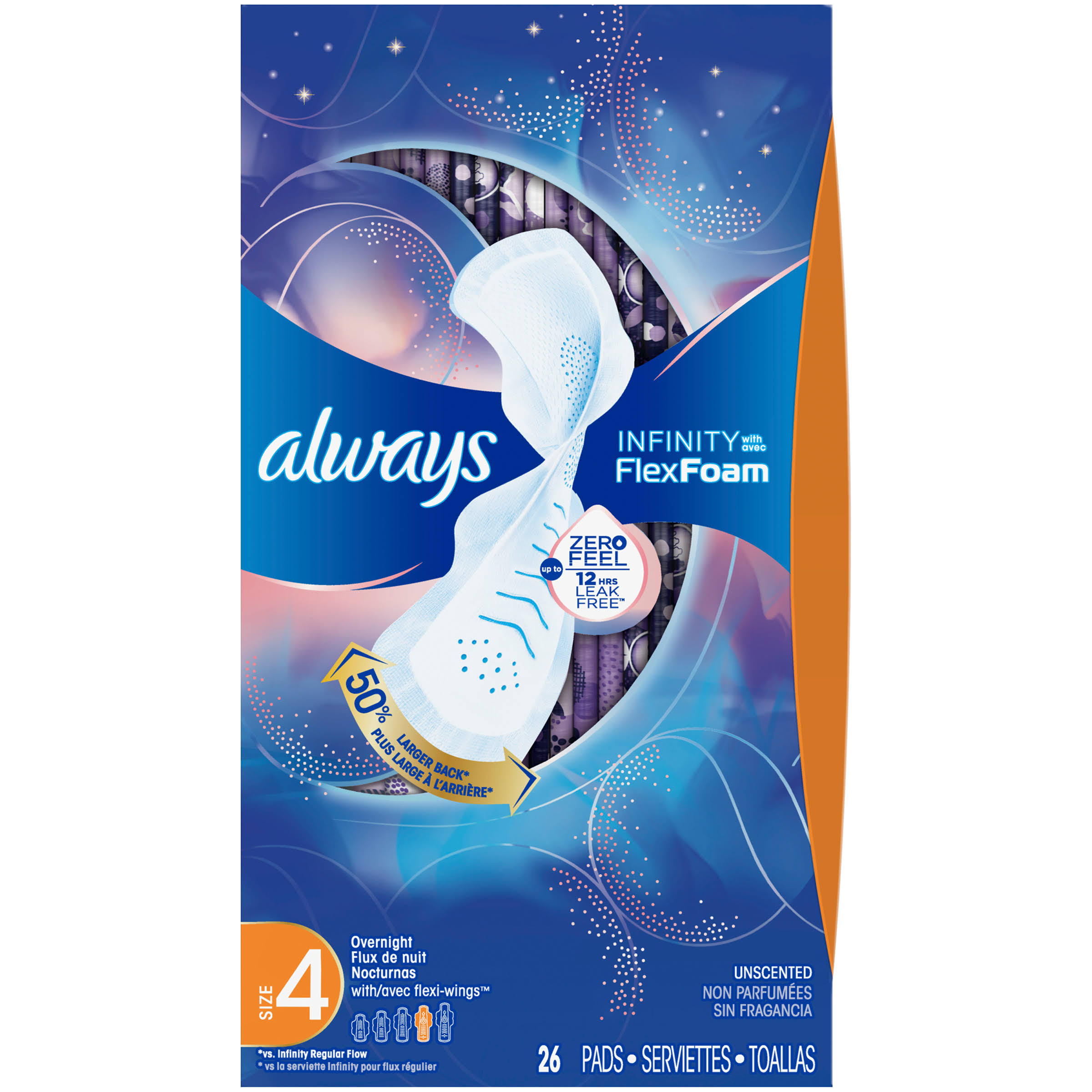 Always Infinity with Flex Foam Pads, with Flexi-Wings, Overnight, Unscented, Size 4 - 26 pads