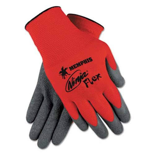 MCR Safety Memphis Glove Ninja Flex Nylon Shell Gloves - Gray/Red, Large