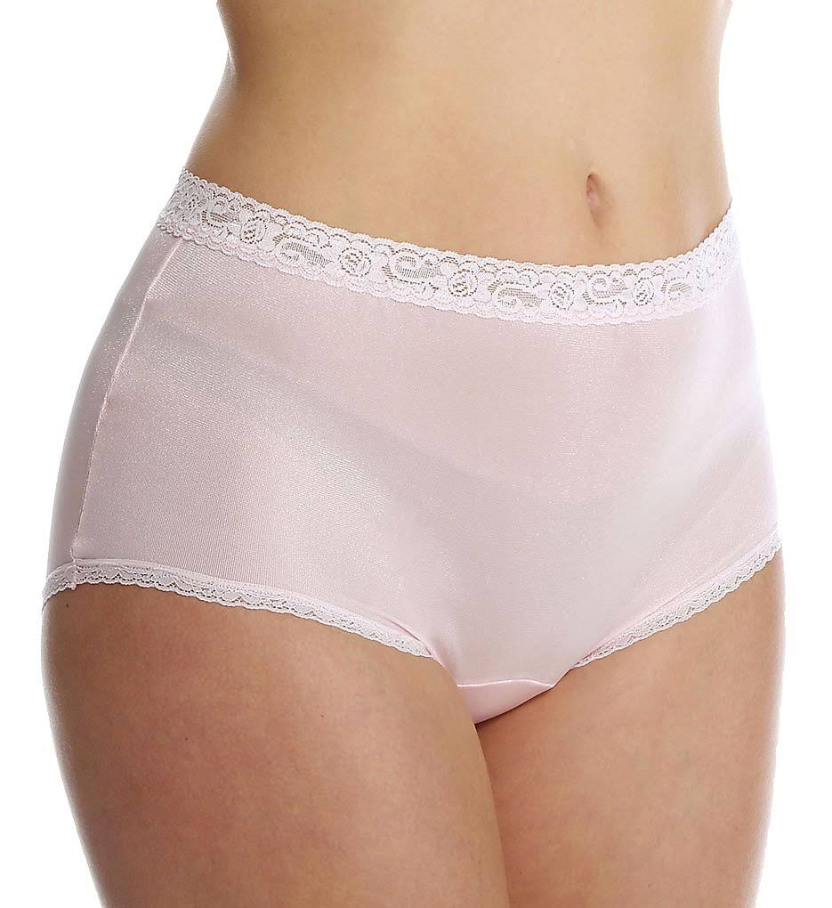 Cuddl Duds LR102 Lorraine Nylon Full Brief with Lace Trim Panty, Pink