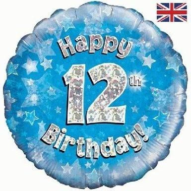 Oaktree 18 inch Happy 12th Birthday Blue Holographic