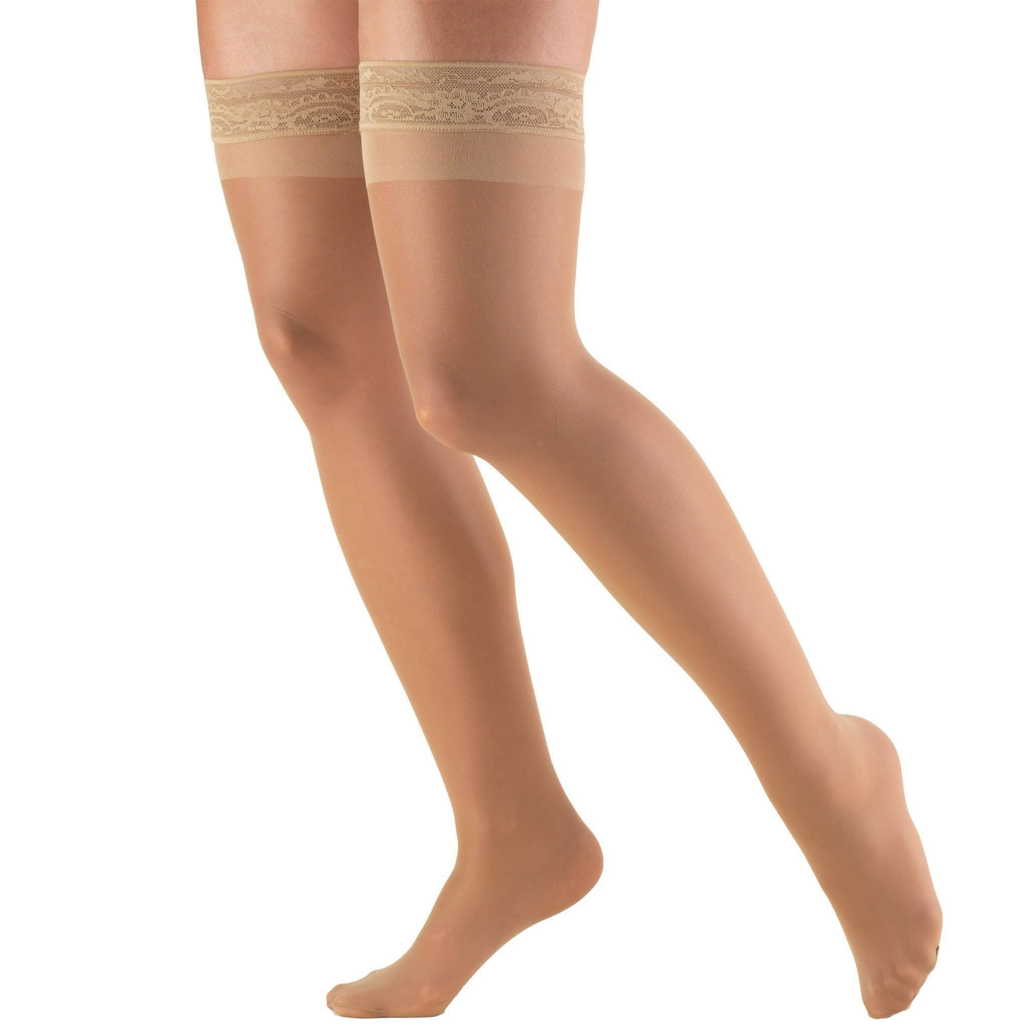 Truform Women's 8-15 mmHg Sheer Thigh High Compression Stockings - Beige, M