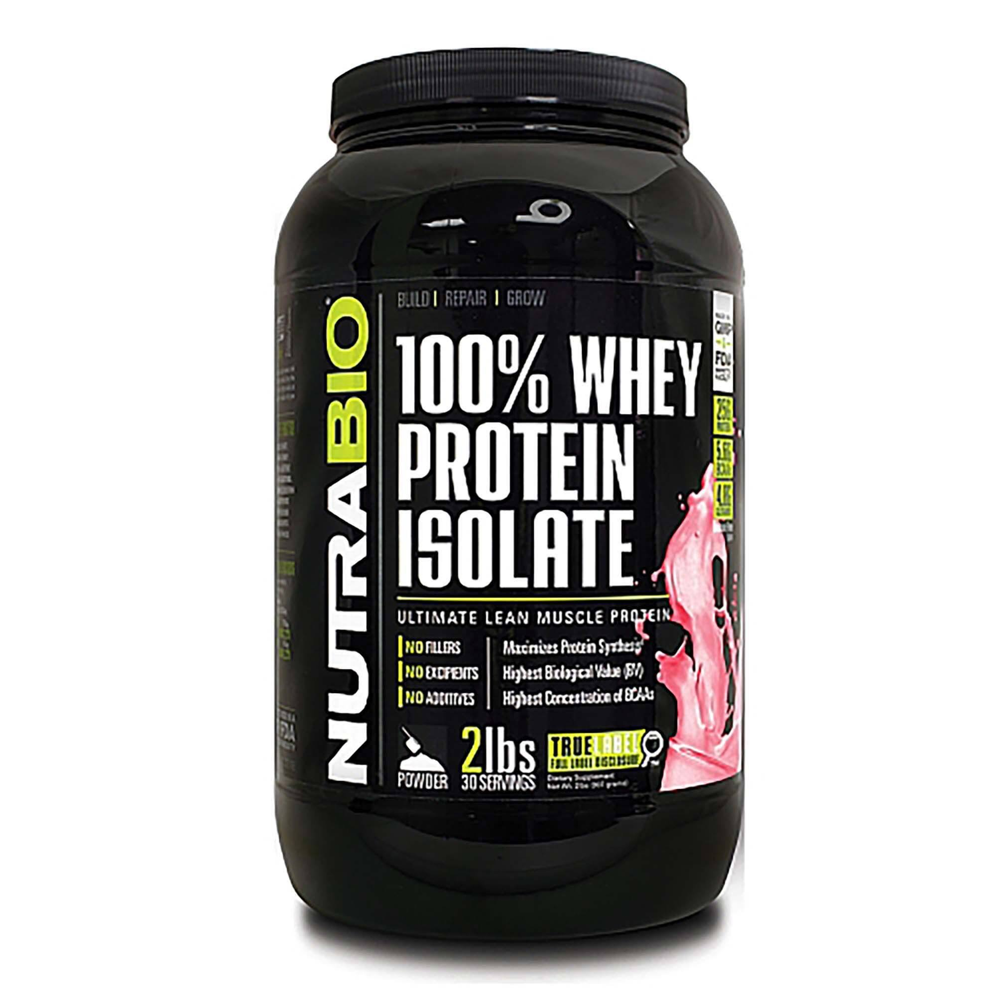 NutraBio Whey Protein Isolate - 2lbs, Strawberry