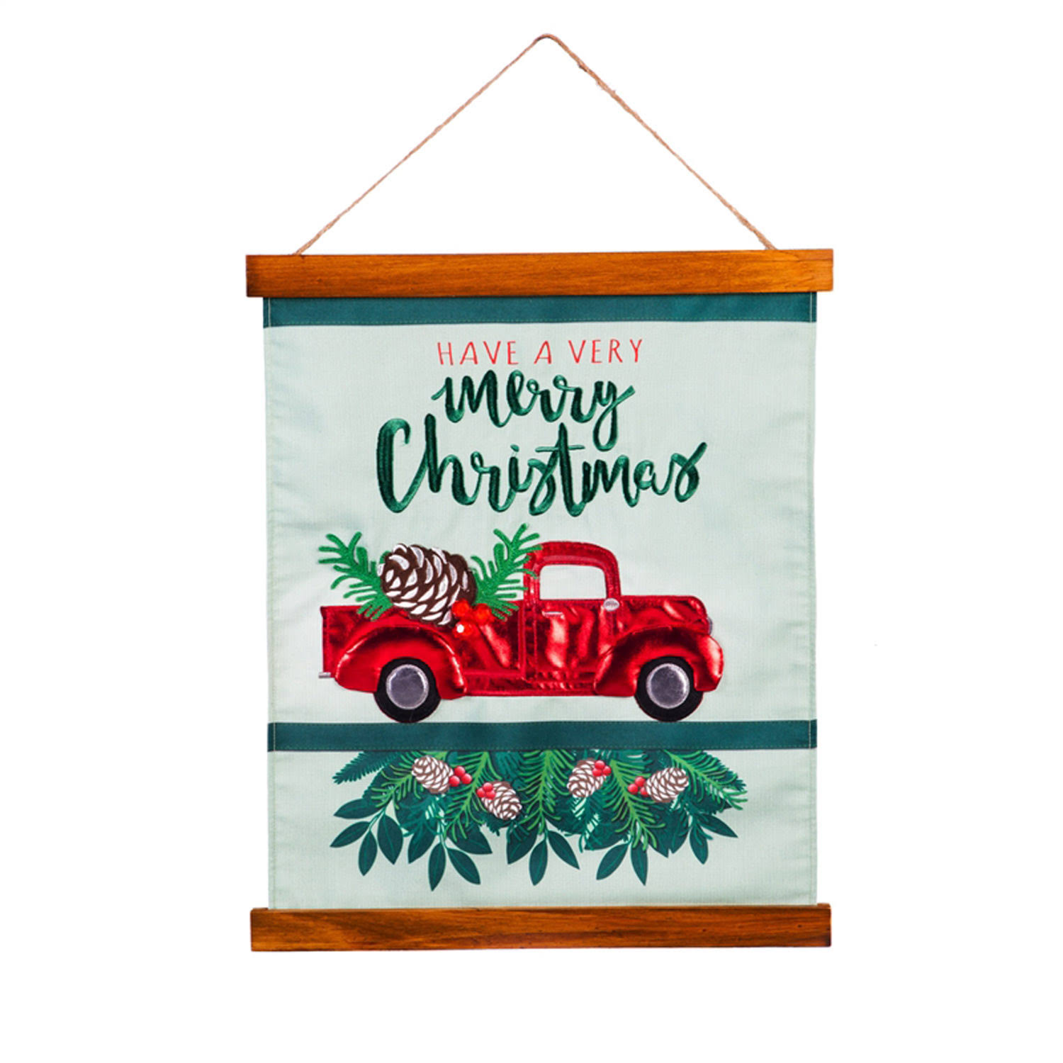 Evergreen 20 in. Wood and Fabric Wall Hanging, Red Truck