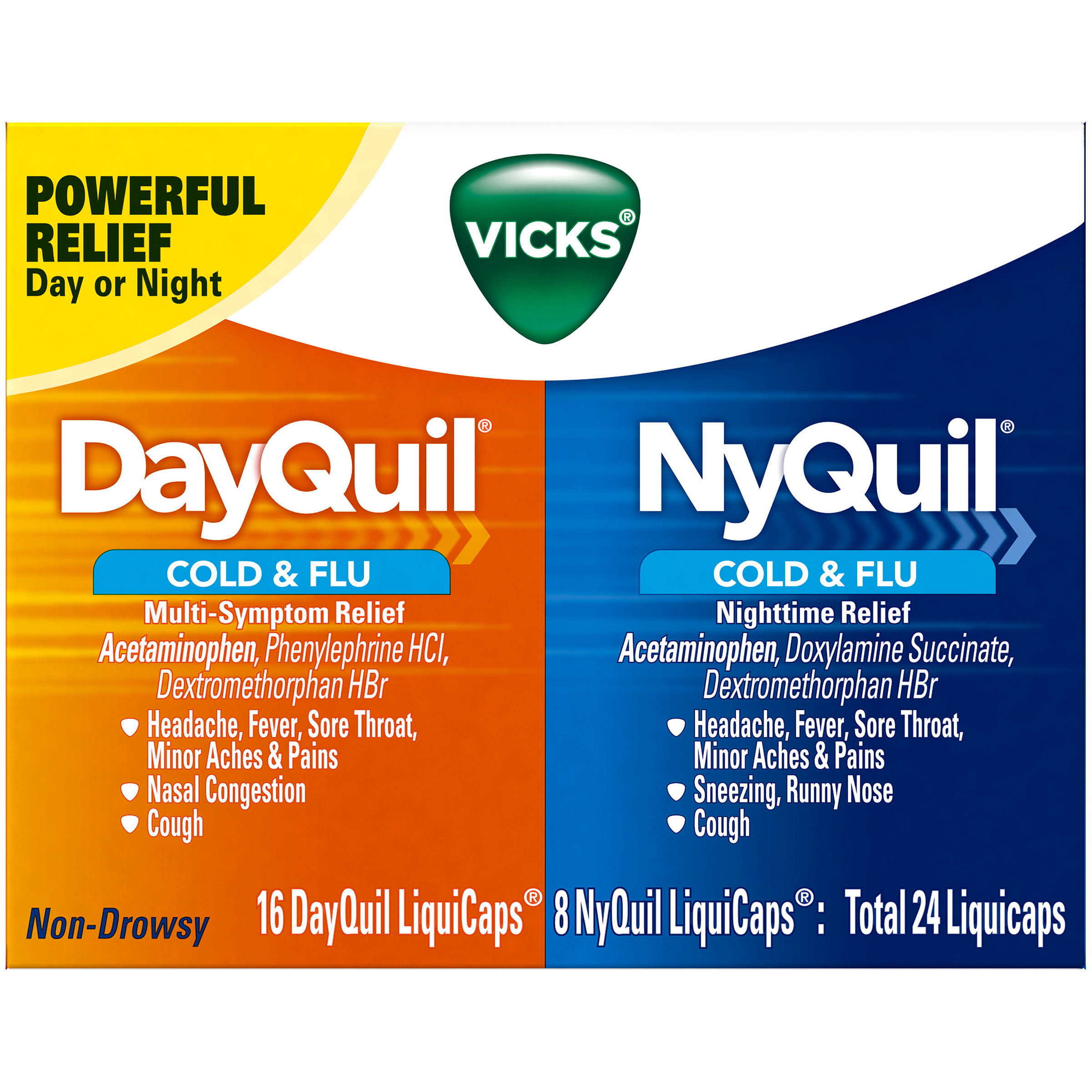 Vicks DayQuil & NyQuil Cold and Flu Relief Capsules - 144ct
