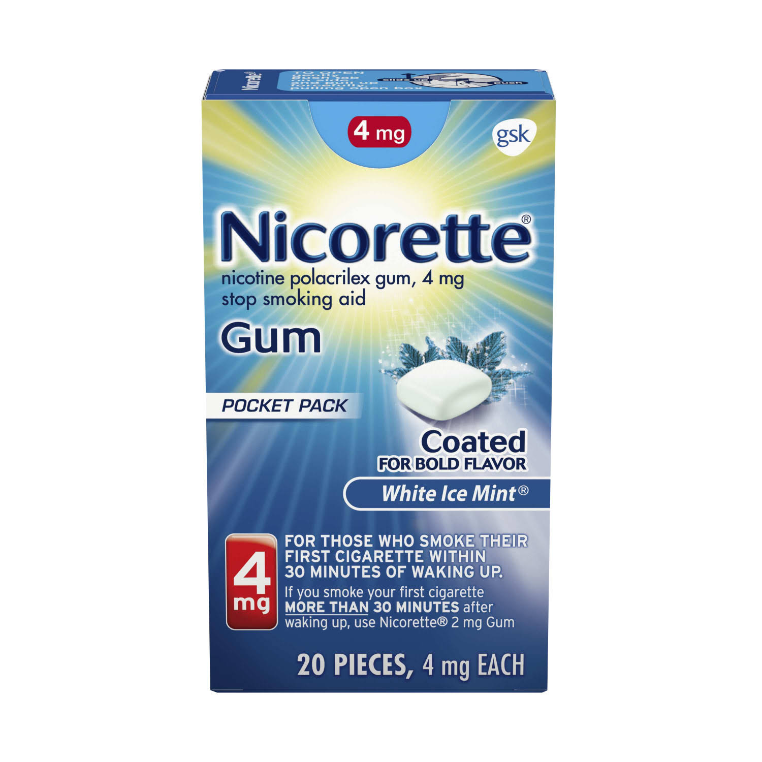Nicorette Nicotine Gum - White Ice Mint, 4mg, 20 Count