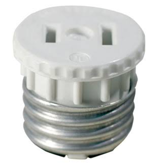 Leviton Lamp Holder to Outlet Adapter - White, 660W