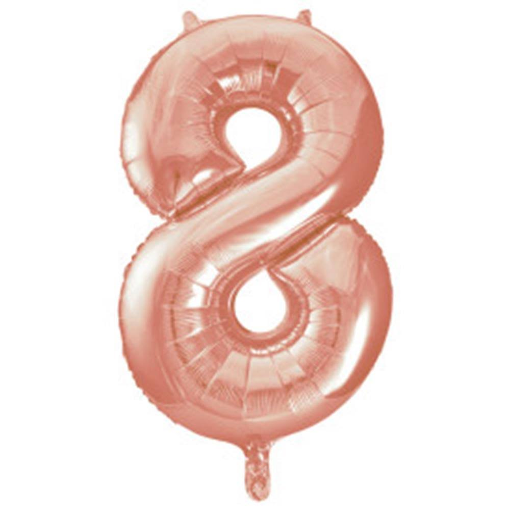 "34"" Foil Rose Gold Number 8 Balloon"