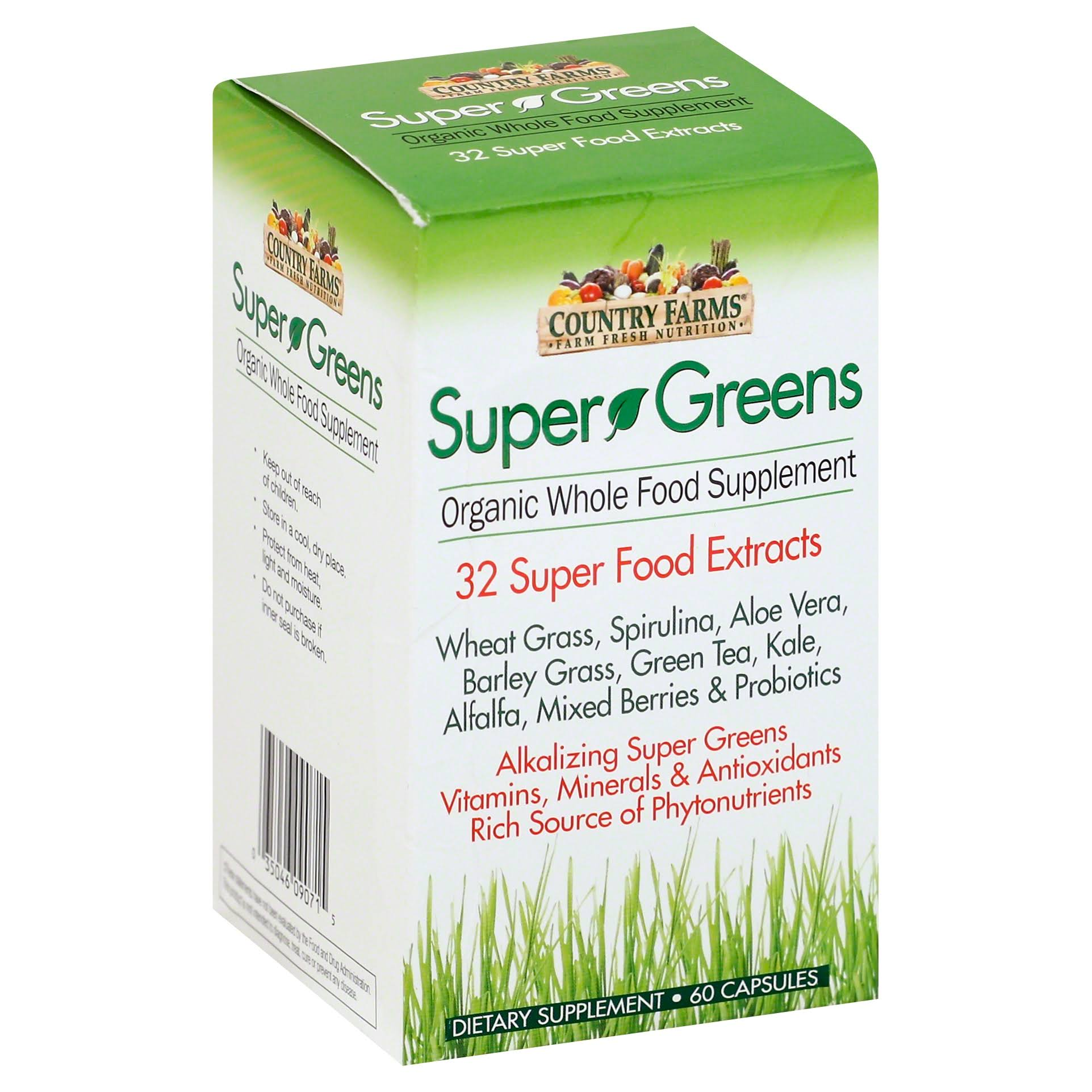 Country Farms Super Greens Organic Whole Food Dietary Supplement - 60pk