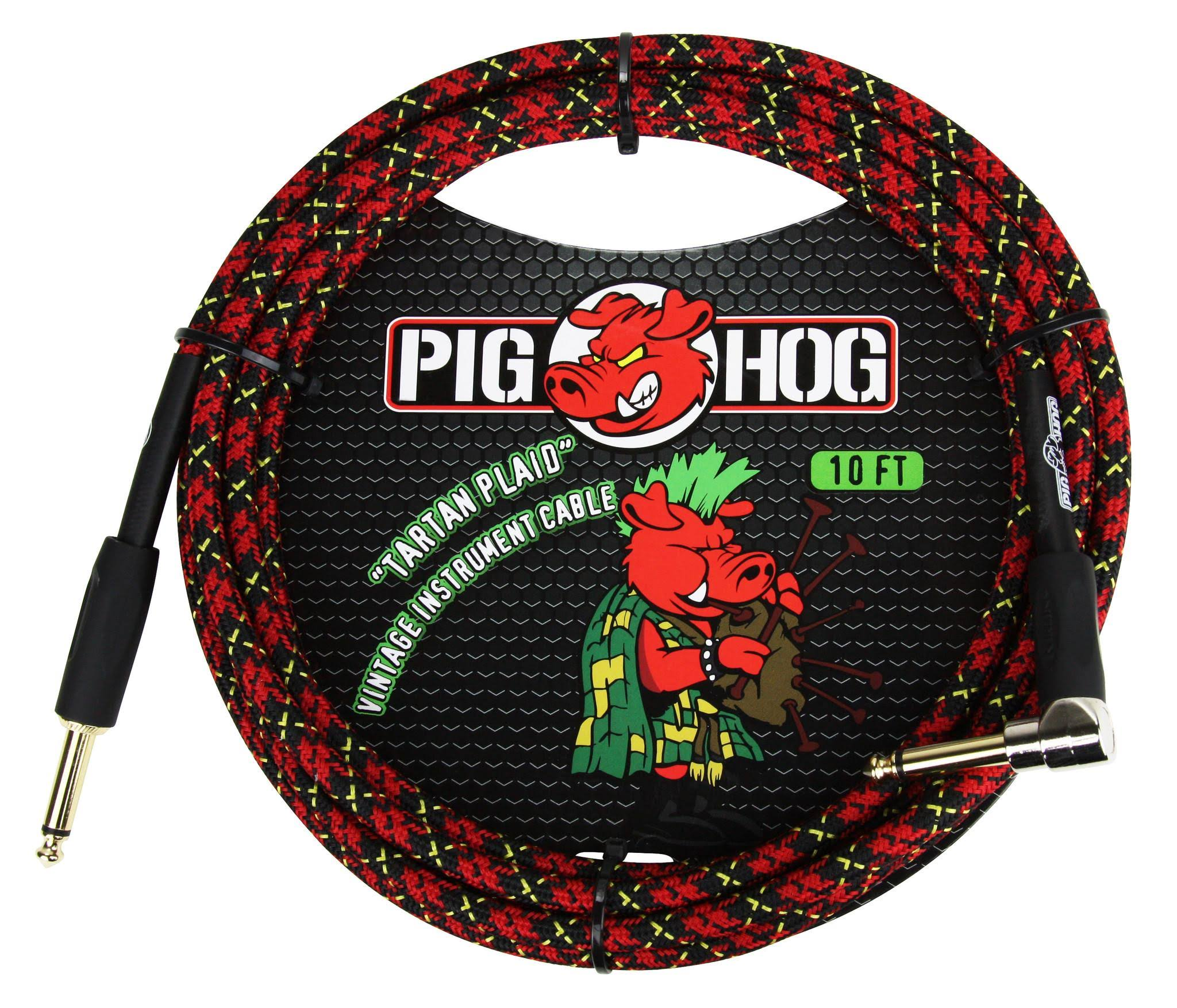 Pig Hog Right Angle Instrument Cable - 10', Tartan Plaid