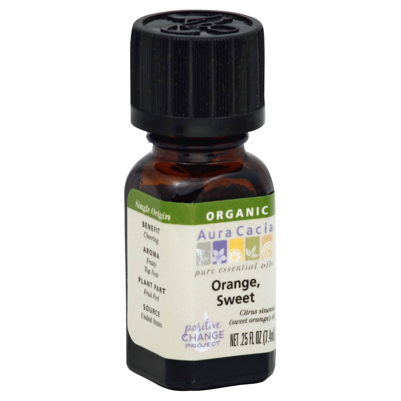 Aura Cacia Organic Essential Oil - Orange Sweet, 0.25oz