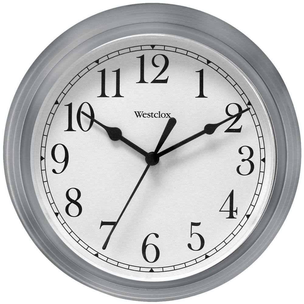 Westclock 46984 Quartz Movement Round Wall Clock - Silver