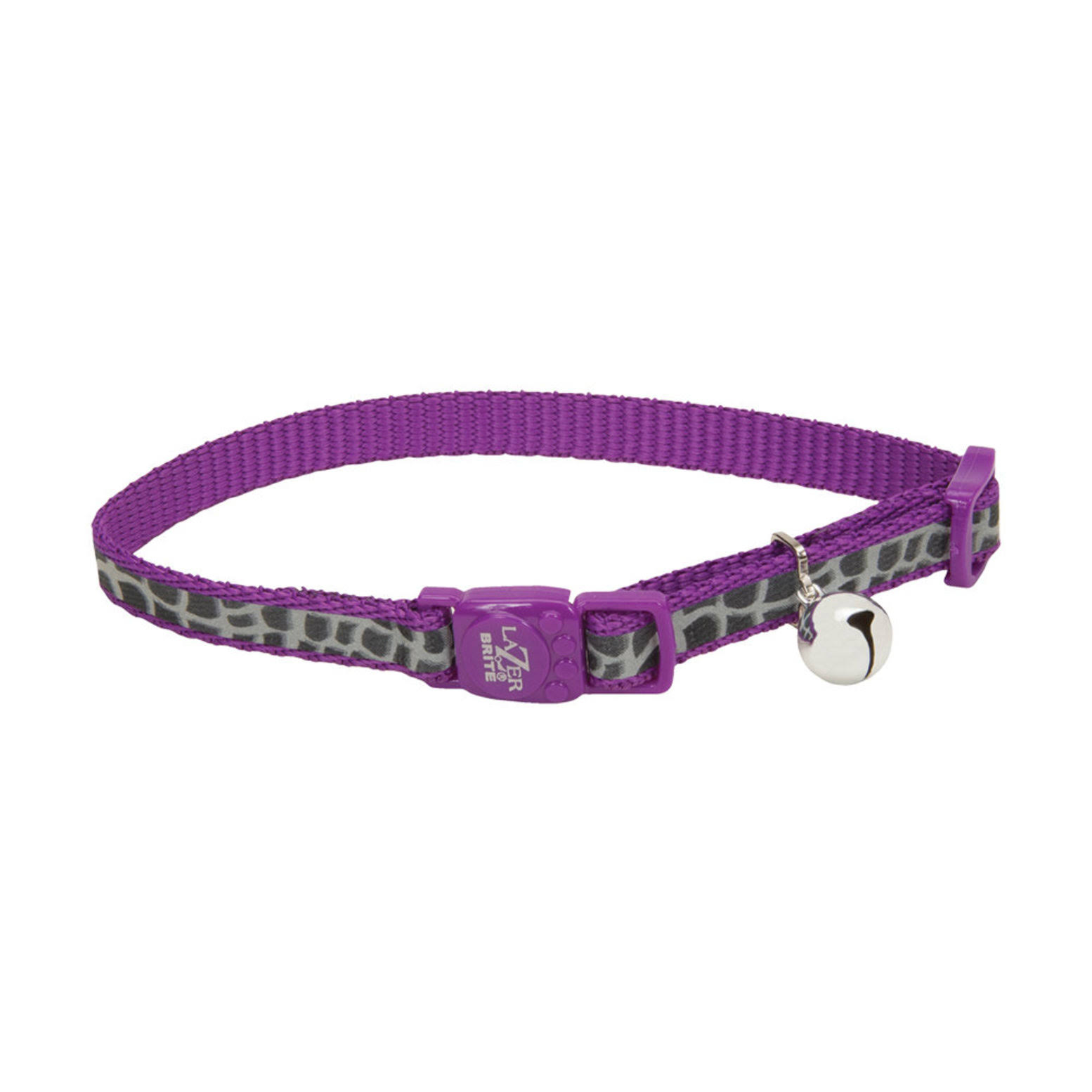 Coastal Pet Lazer Brite Reflective Adjustable Breakaway Cat Collar - Purple Animal Print