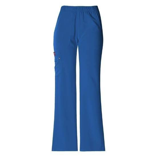 Dickies 82012 Elastic Waist Pull on Scrub Pants - Royal, Large, Petite