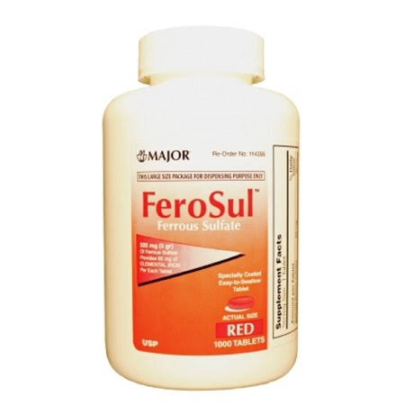 Major Ferosul Iron Supplement - 5gr, Red Tabs, 325m, 1000ct