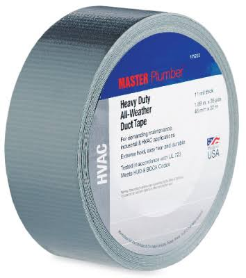 Master Plumber Heavy-Duty HVAC Duct Tape - Silver, 1.89in x 35yd