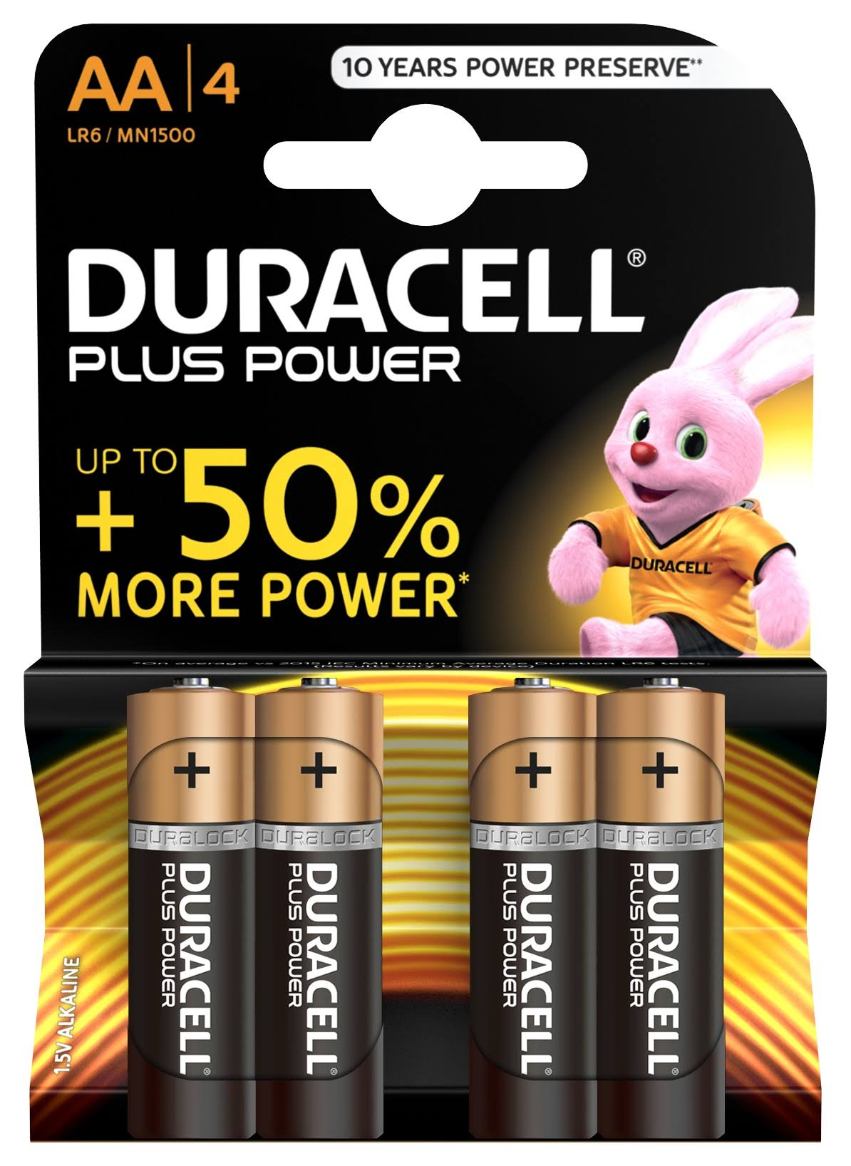 Duracell Plus Power Alkaline AA Batteries Pack - 4pk