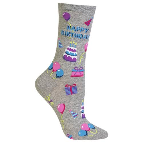 Hot Sox Women's Happy Birthday Crew Socks - Grey, Size 9-11