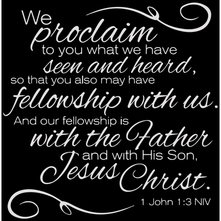 1 John 1:3 NIV - We Proclaim to You What We Have Vinyl Decal Sticker Quote - Medium - Light Gray, Size: 22 Wide
