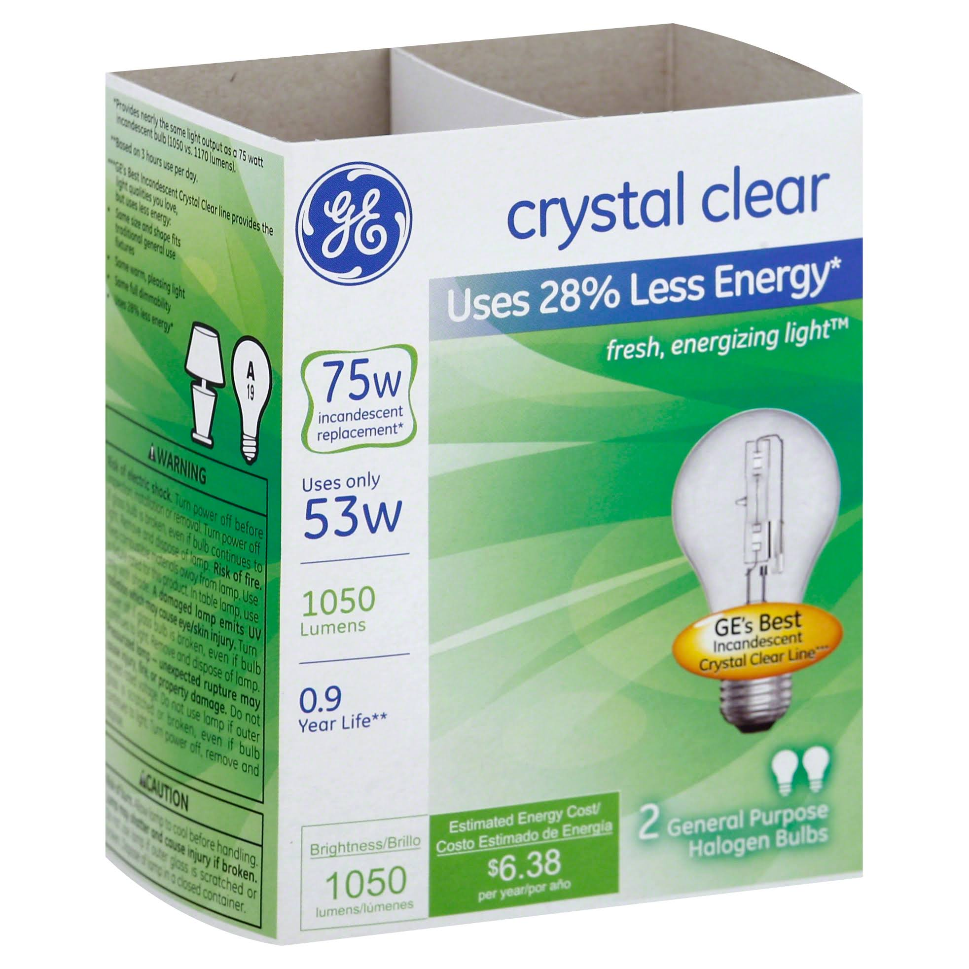 GE Lighting 78797 Halogen Light Bulbs - Clear, 53w, 2 Pack