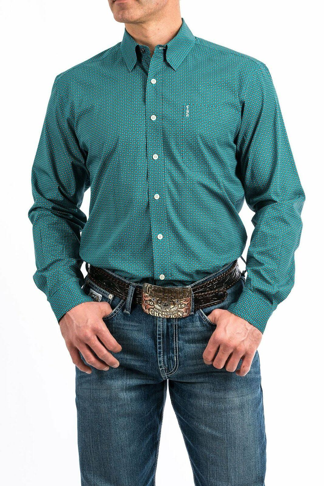Cinch Modern Fit Men's Turquoise Geo Print Long Sleeve Western Shirt