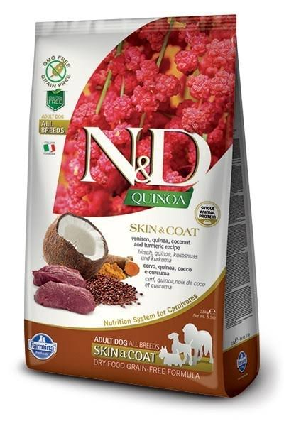 N & D - Grain Free Quinoa Adult Skin & Coat Dry Dog Food - Deer, Quinoa, Coconut & Turmeric, 7 kg