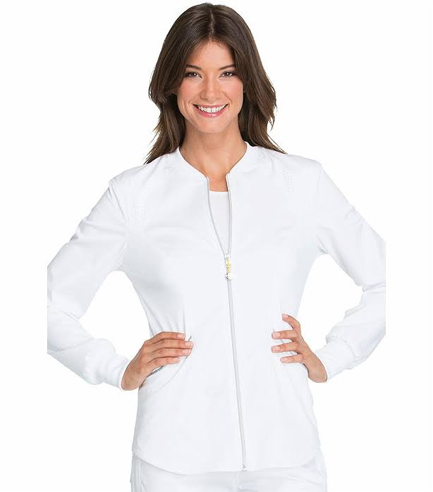 Cherokee Women's Luxe Sport Zip Front Warm-Up Jacket, White, XS