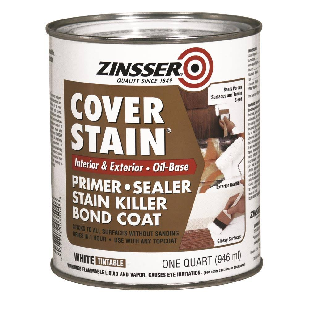 Zinsser Cover Stain Primer - White, Interior/Exterior, 1 Quart