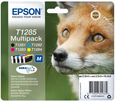 Epson T1285 Inkjet Cartridges - Multi Pack, Black, Cyan, Magenta and Yellow