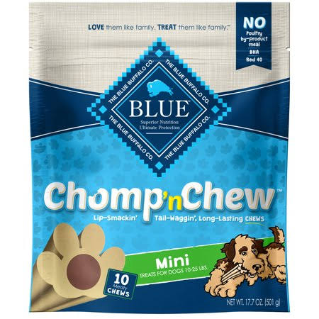 Blue Chomp 'n Chew Treats for Dogs, Meaty Chews, Mini - 10 chews, 17.7 oz