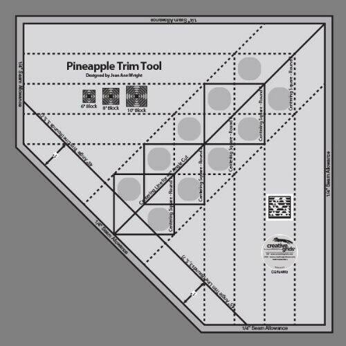 "Creative Grids Pineapple Trim Tool Quilting Ruler - for 6"" 8"" or 10"" Blocks"