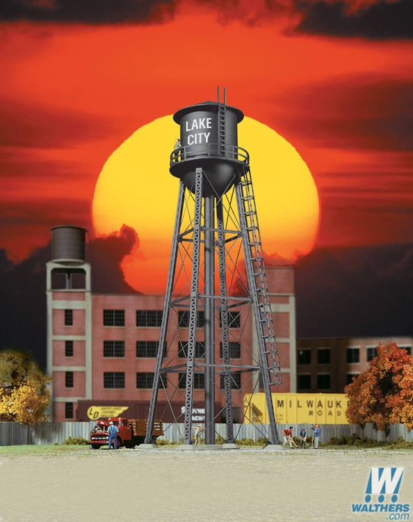 "Walthers, Inc. City Water Tower, 2-3/8 x 7"" 6 x 17.8cm, Black 933-3832"