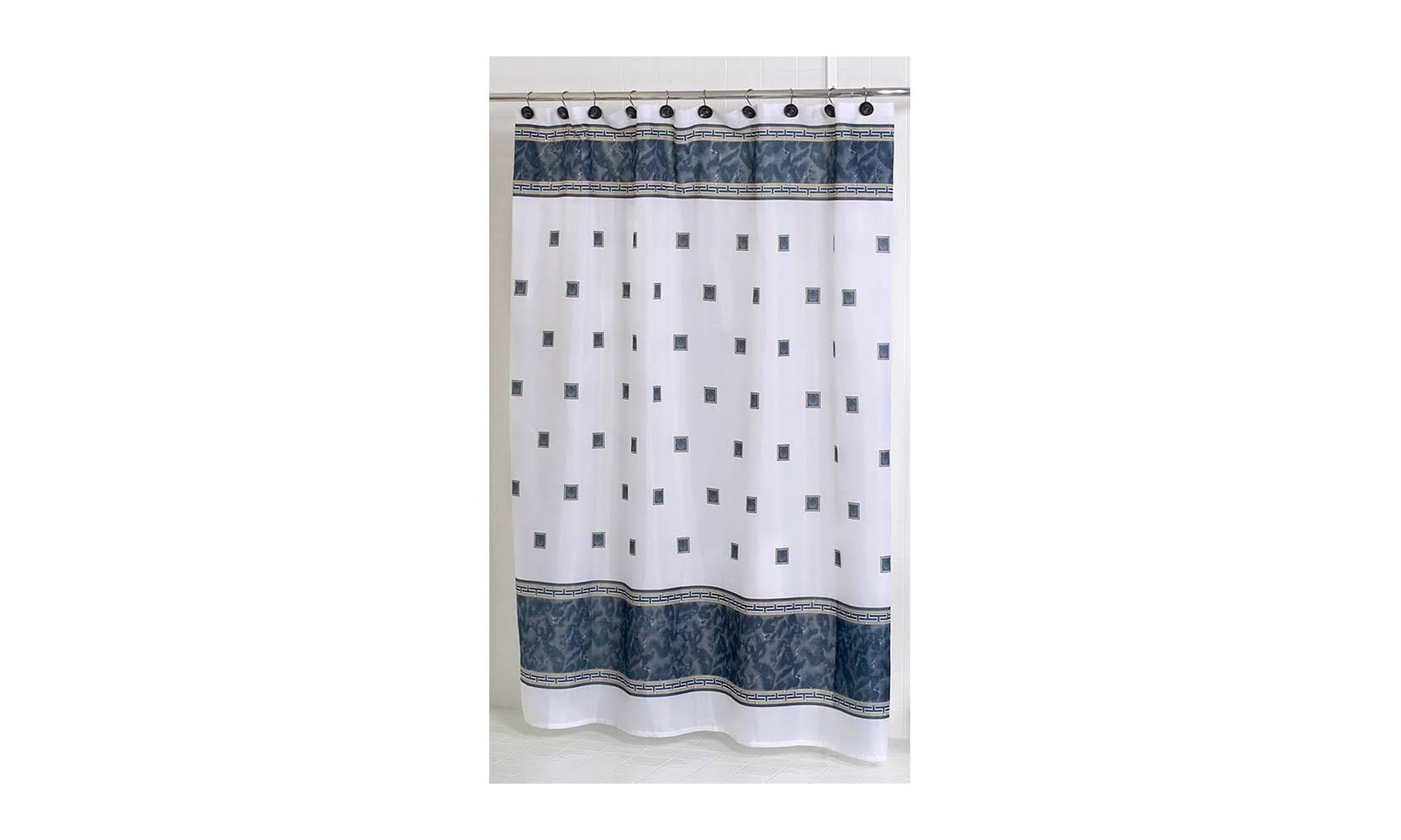 Carnation Home Fashions Windsor Fabric Shower Curtain Black