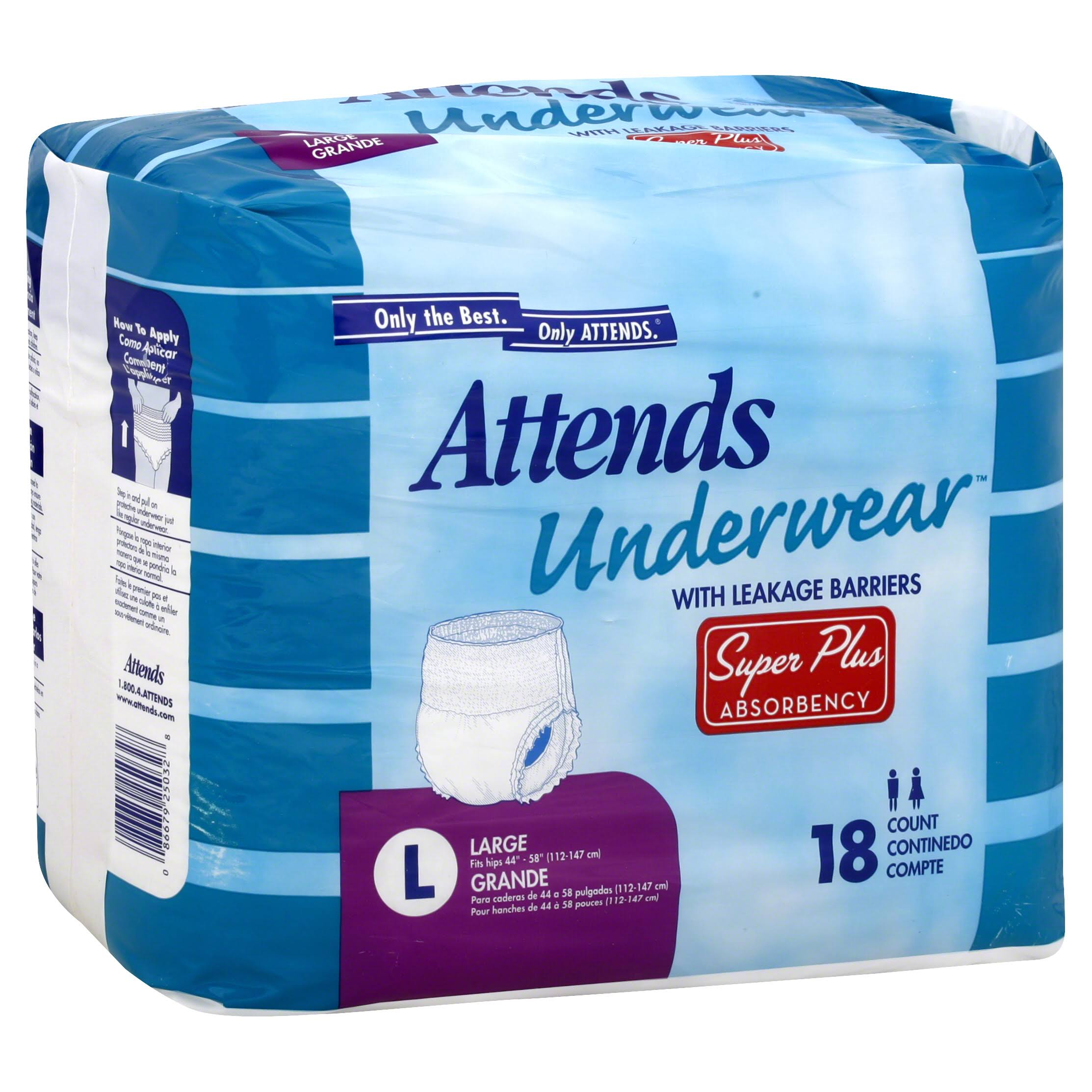 Attends Super Plus Absorbency Protective Underwear - Large, 18ct