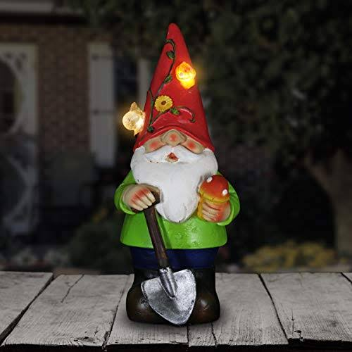 Exhart Solar Colorful Gnome Statue Red Hat