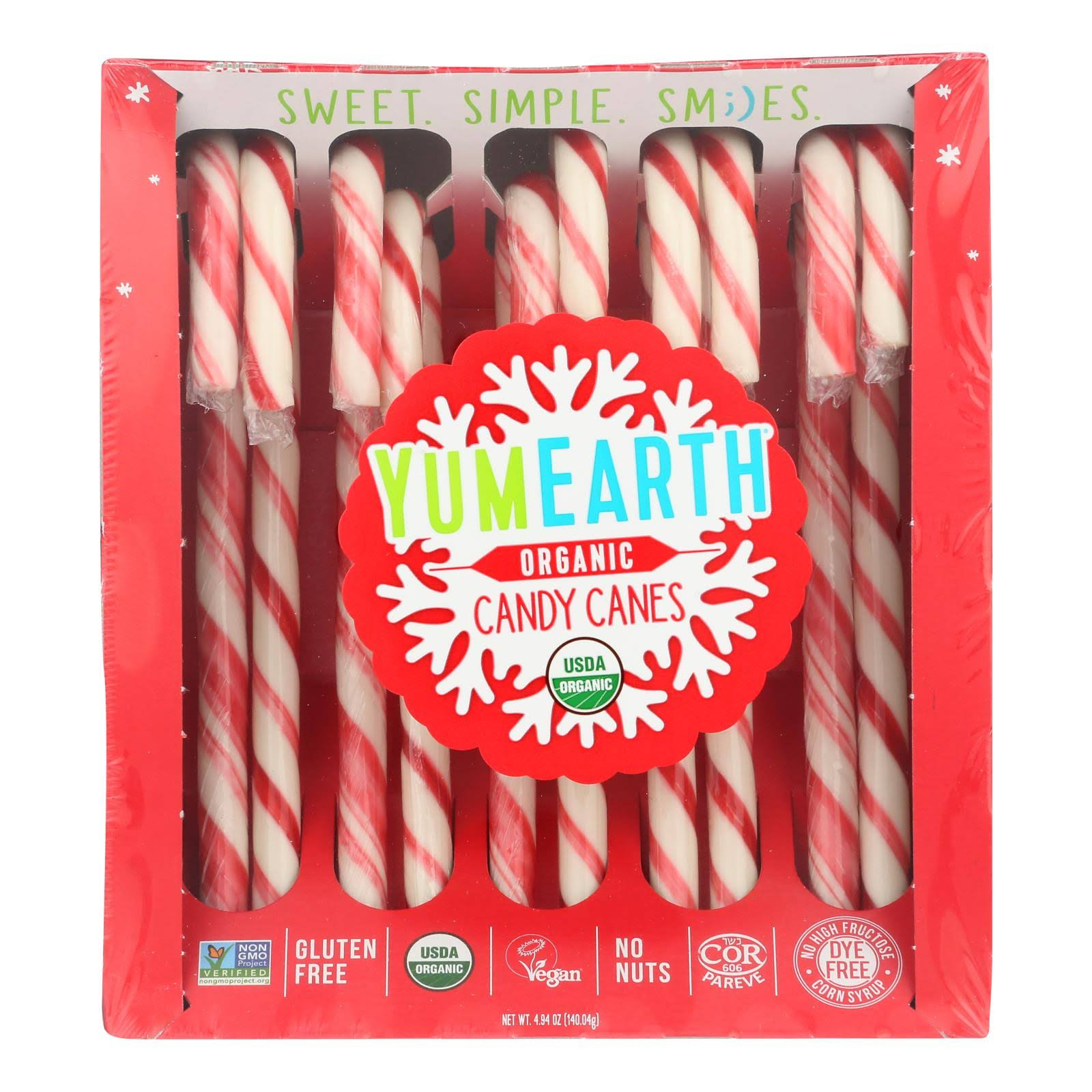 Yum Earth Holiday Candy Canes - 4.8oz/10ct