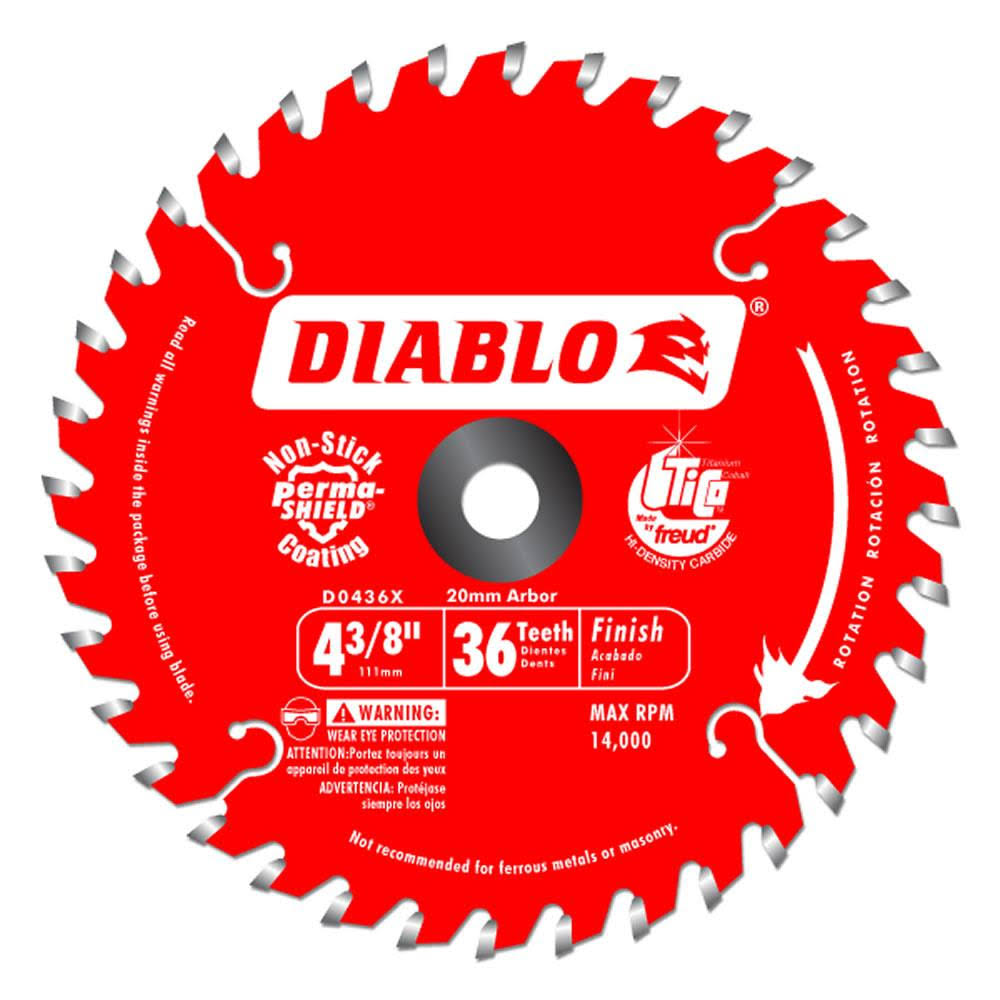 "Freud D0436X Diablo Carbide Tipped Circular Saw Blade - 4-3/8"" x 36 tooth, 20m arbor"