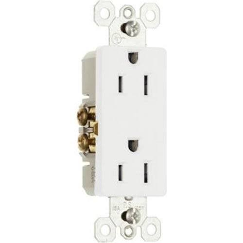 Pass and Seymour Duplex Decorator Receptacle - 15 Amp, 125V, White