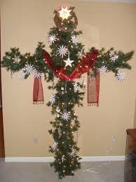Frontgate Christmas Trees by A Cross Christmas Tree Made From Pcv Pipe And Garland Red Sash
